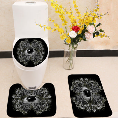 Vision Black and White 3 Piece Toilet Cover Set