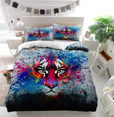 Coloful angry tiger Duvet Cover Bedding Set