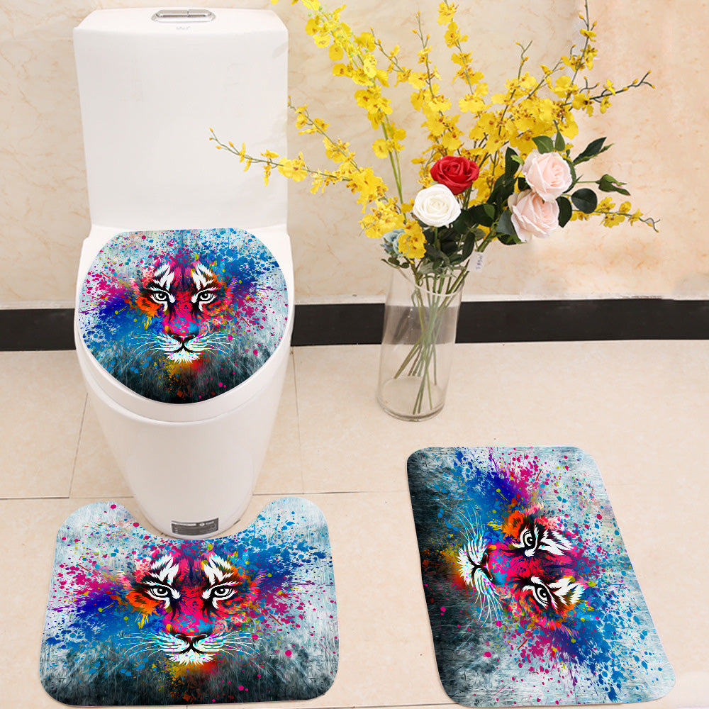 Coloful angry tiger 3 Piece Toilet Cover Set