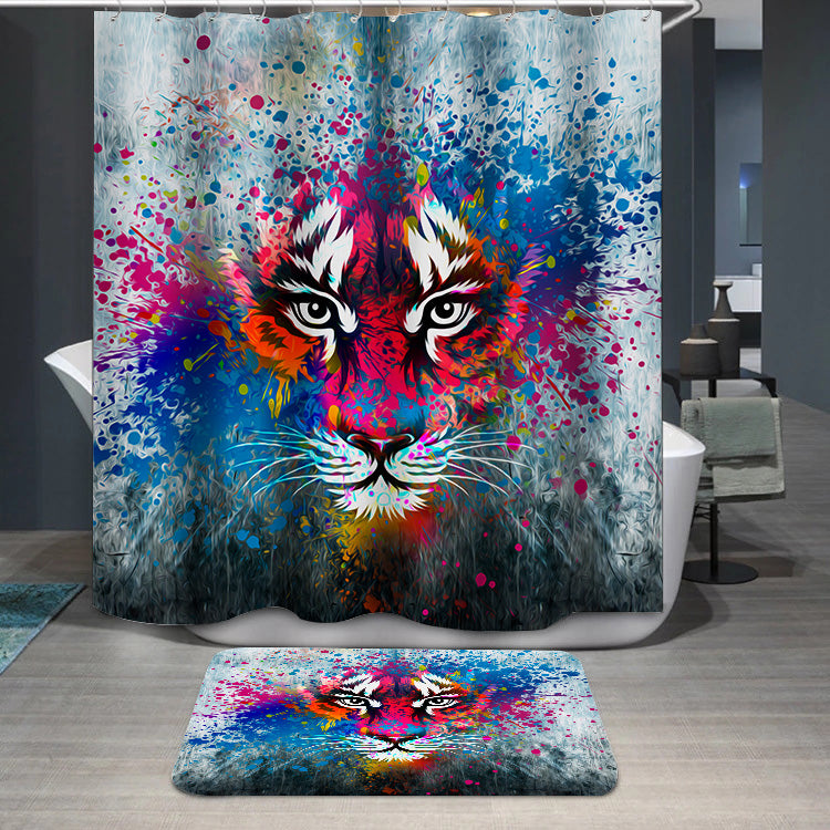 Coloful angry tiger Shower Curtain