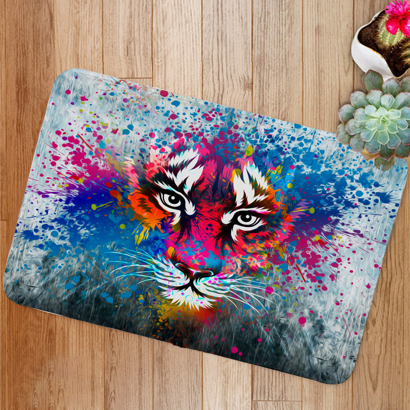 Coloful angry tiger Bath Mat