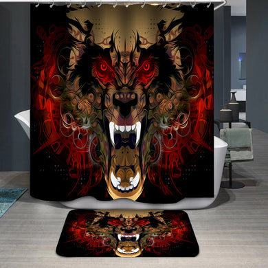 Tiger head red eye Shower Curtain