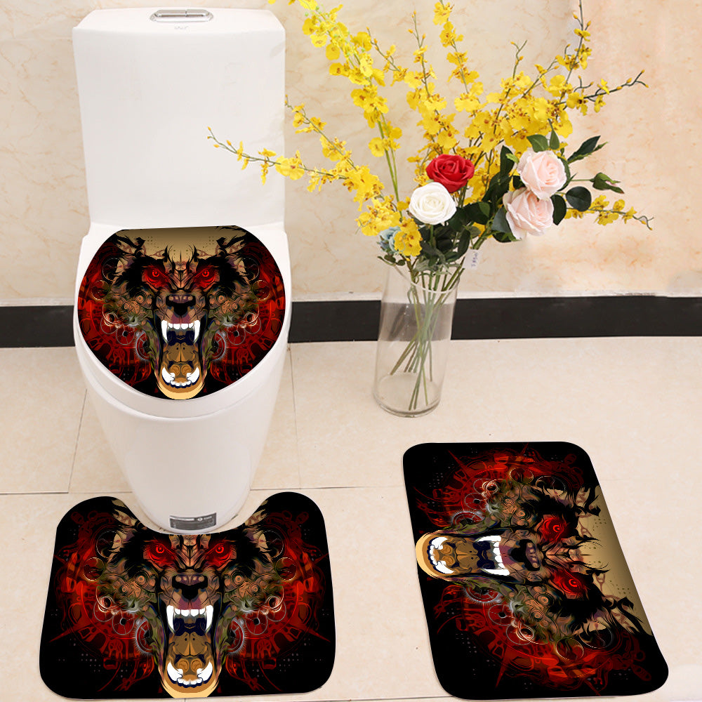 Tiger head red eye 3 Piece Toilet Cover Set