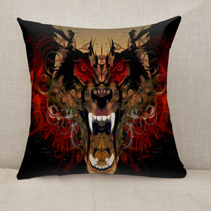 Tiger head red eye Throw Pillow [With Inserts]