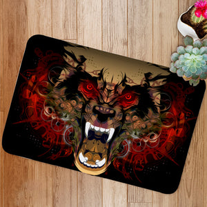 Tiger head red eye Bath Mat