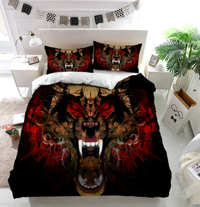 Tiger head red eye Duvet Cover Bedding Set