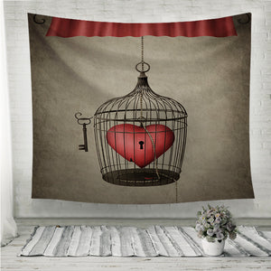 Locked heart Wall Tapestry