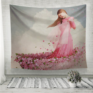 Girl in boat of flowers Wall Tapestry