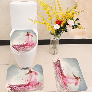 Girl in boat of flowers 3 Piece Toilet Cover Set