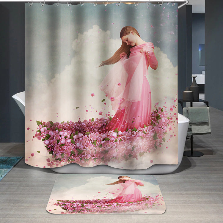 Girl in boat of flowers Shower Curtain
