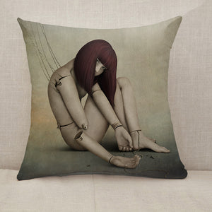 Broken doll Throw Pillow [With Inserts]