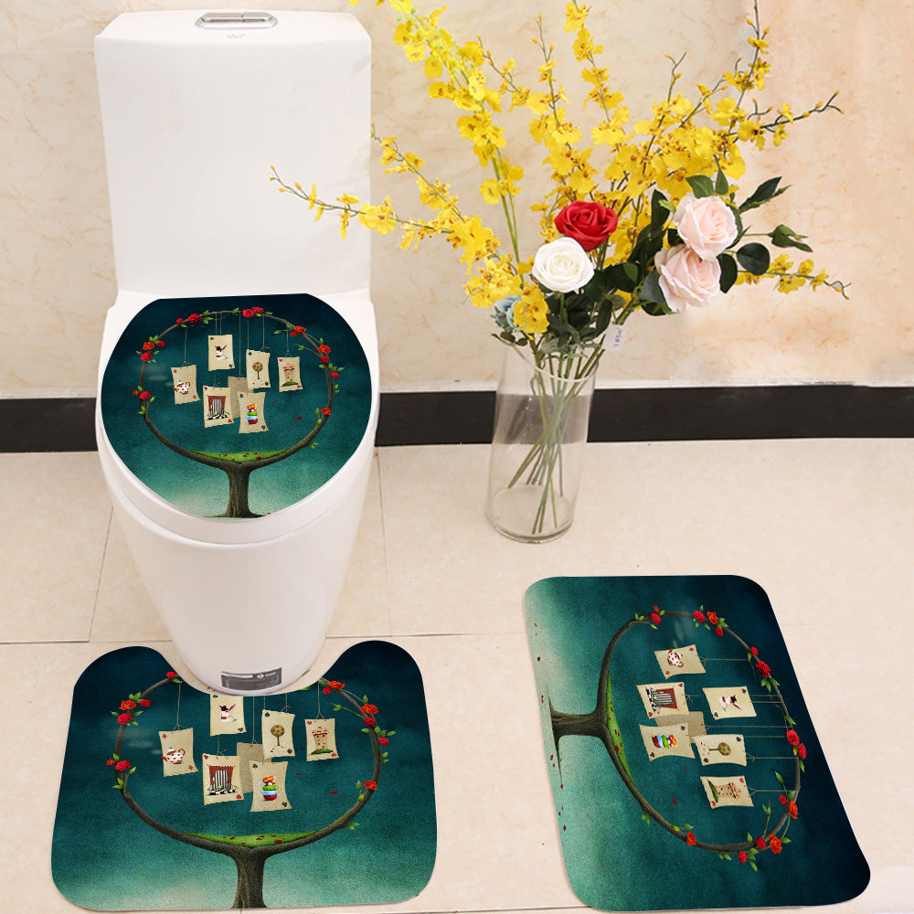 Tree with cards 3 Piece Toilet Cover Set