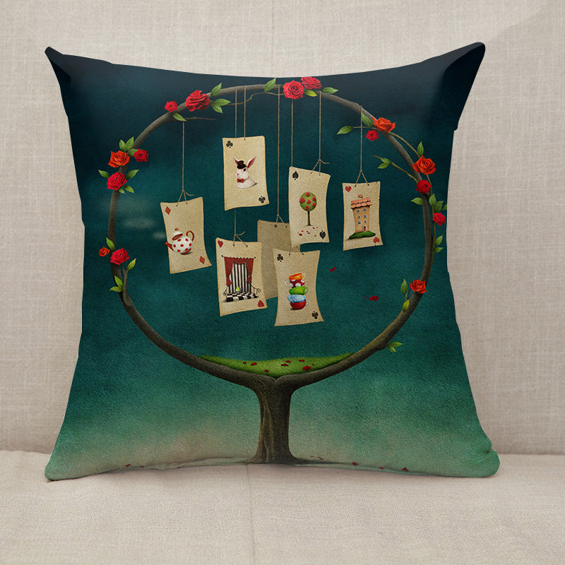 Tree with cards Throw Pillow [With Inserts]