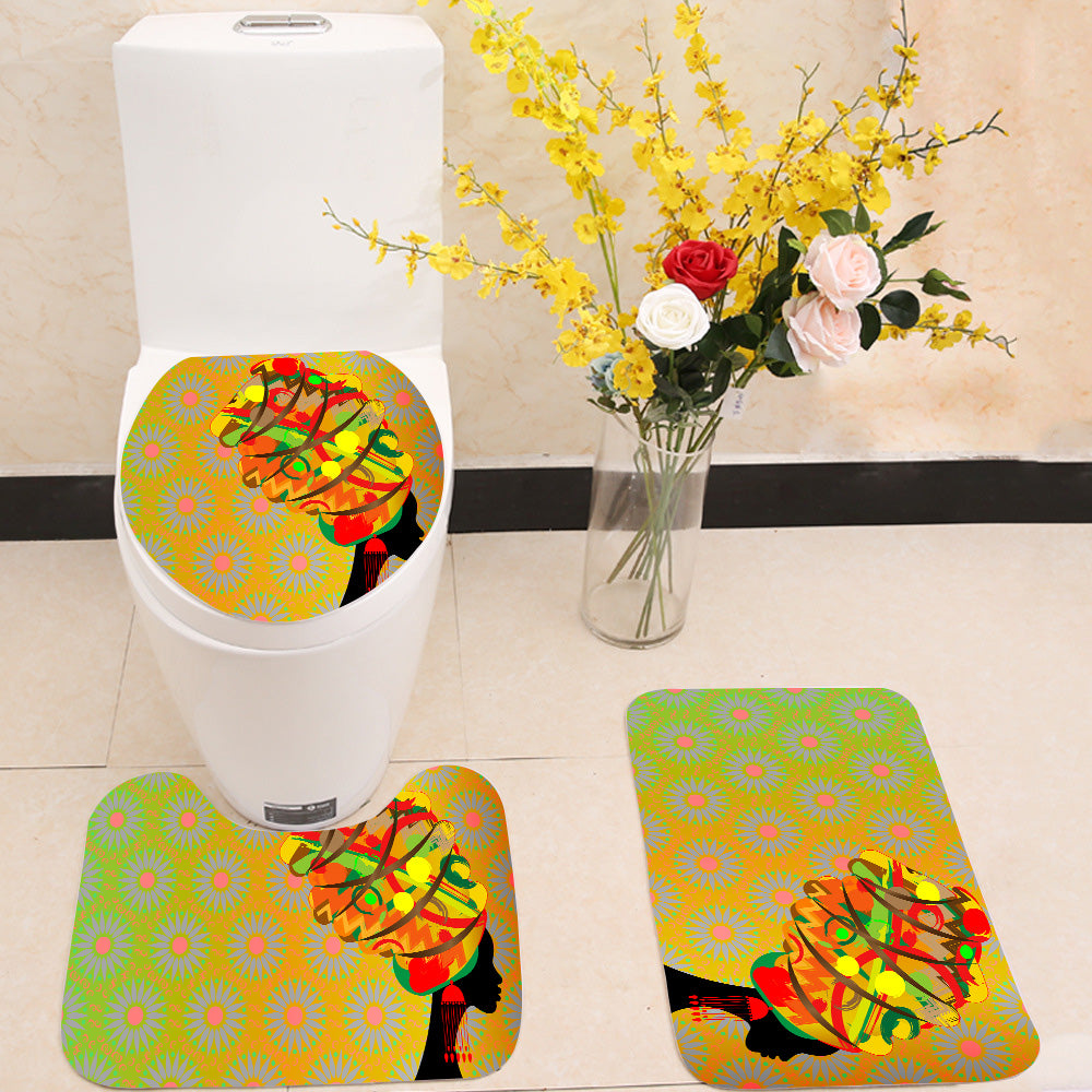 Woman in traditional turban 3 Piece Toilet Cover Set