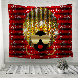 Shiny hair afro woman Wall Tapestry