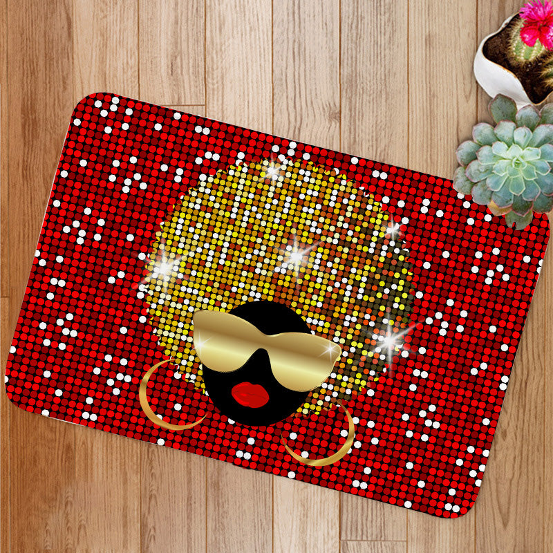 Shiny hair afro woman Bath Mat