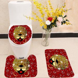 Shiny hair afro woman 3 Piece Toilet Cover Set