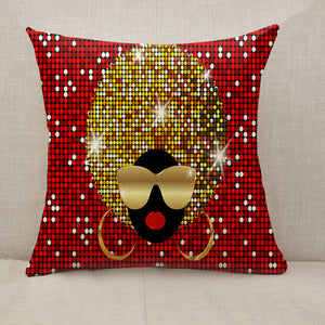 Shiny hair afro woman Throw Pillow [With Inserts]
