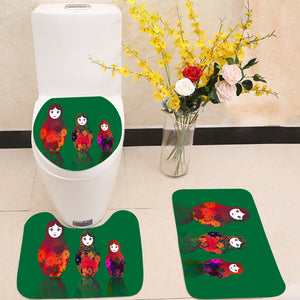 Russian nesting dolls matrioshka 3 Piece Toilet Cover Set