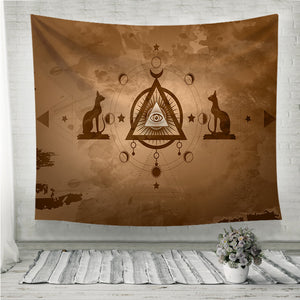 The third eye egyptian cats Wall Tapestry