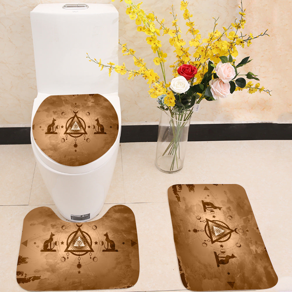 The third eye egyptian cats 3 Piece Toilet Cover Set