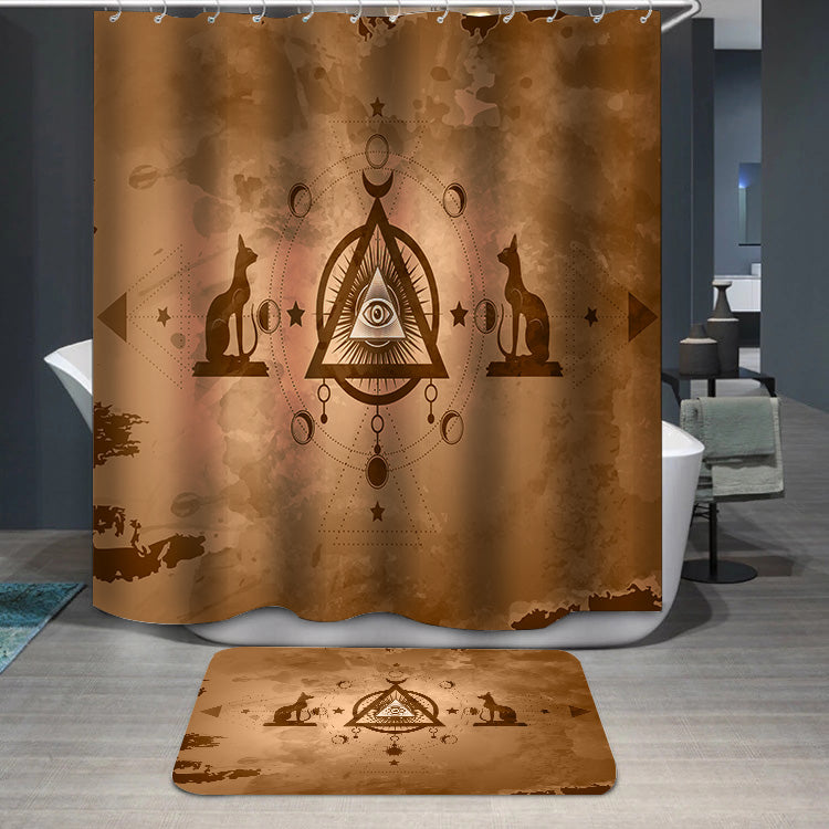 The third eye egyptian cats Shower Curtain
