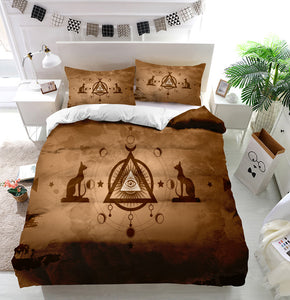 The third eye egyptian cats Duvet Cover Bedding Set
