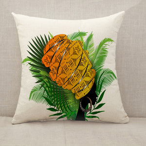 African woman palm leaves Throw Pillow [With Inserts]