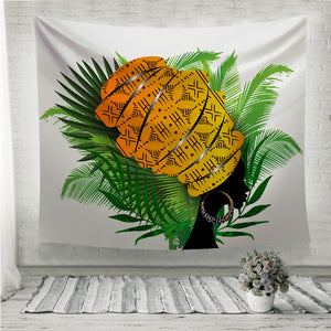 African woman palm leaves Wall Tapestry
