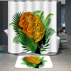 African woman palm leaves Shower Curtain