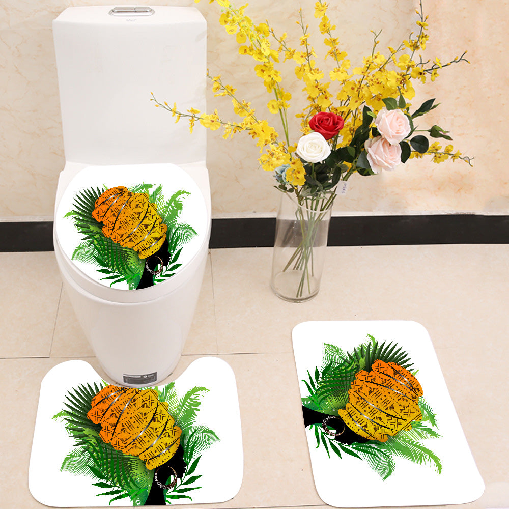 African woman palm leaves 3 Piece Toilet Cover Set