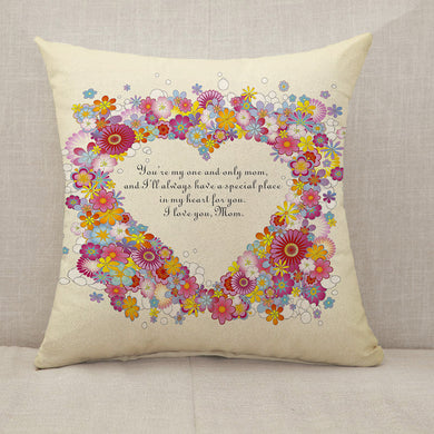 Mother's Day Blessings Flowers Throw Pillow [With Inserts]