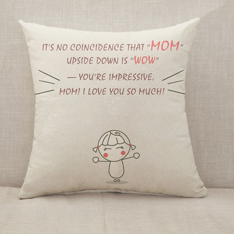 [Personalized] Mother's Day Blessings MOM WOW Throw Pillow [With Inserts]