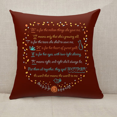 Mother's Day Blessings Meaning Throw Pillow [With Inserts]
