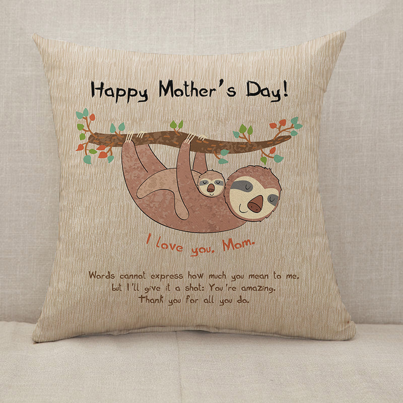 Mother's Day Blessings Sloth Throw Pillow [With Inserts]