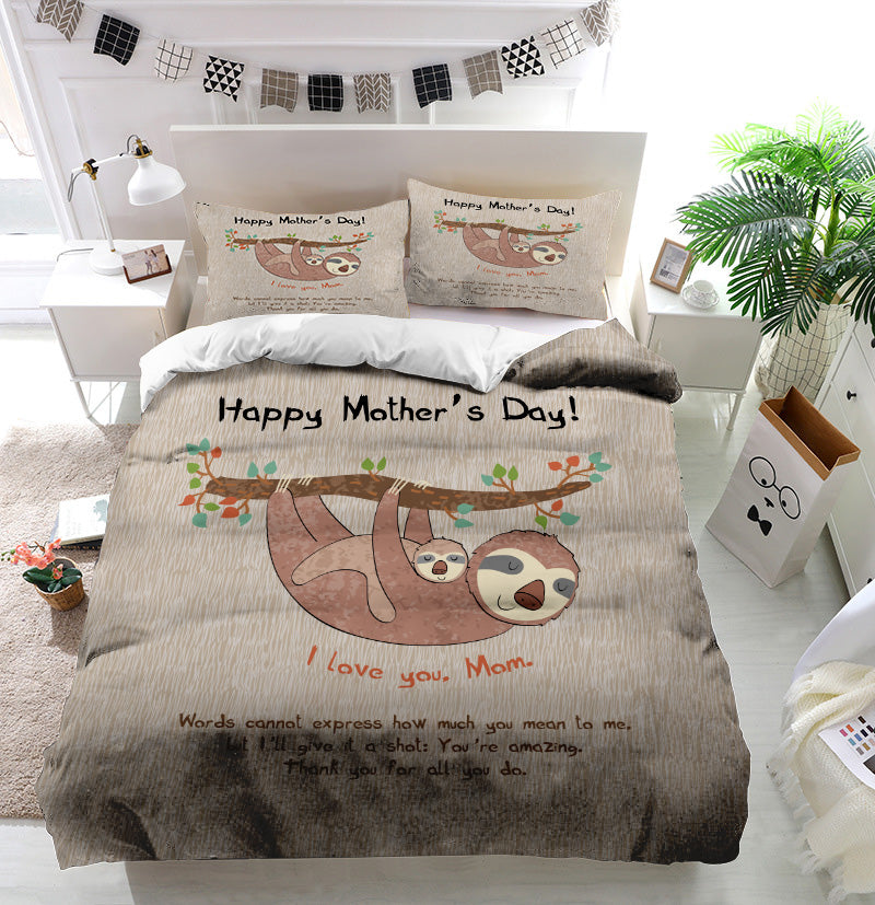 Mother's Day Blessings Sloth Duvet Cover Bedding Set
