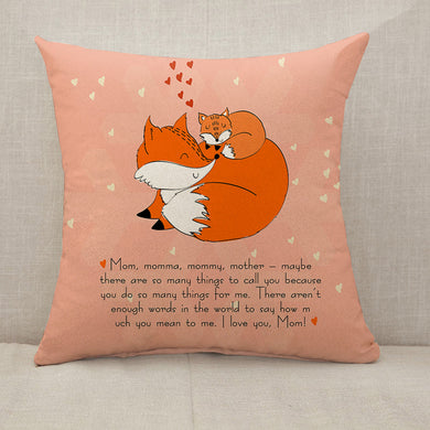 Mother's Day Blessings Fox Throw Pillow [With Inserts]