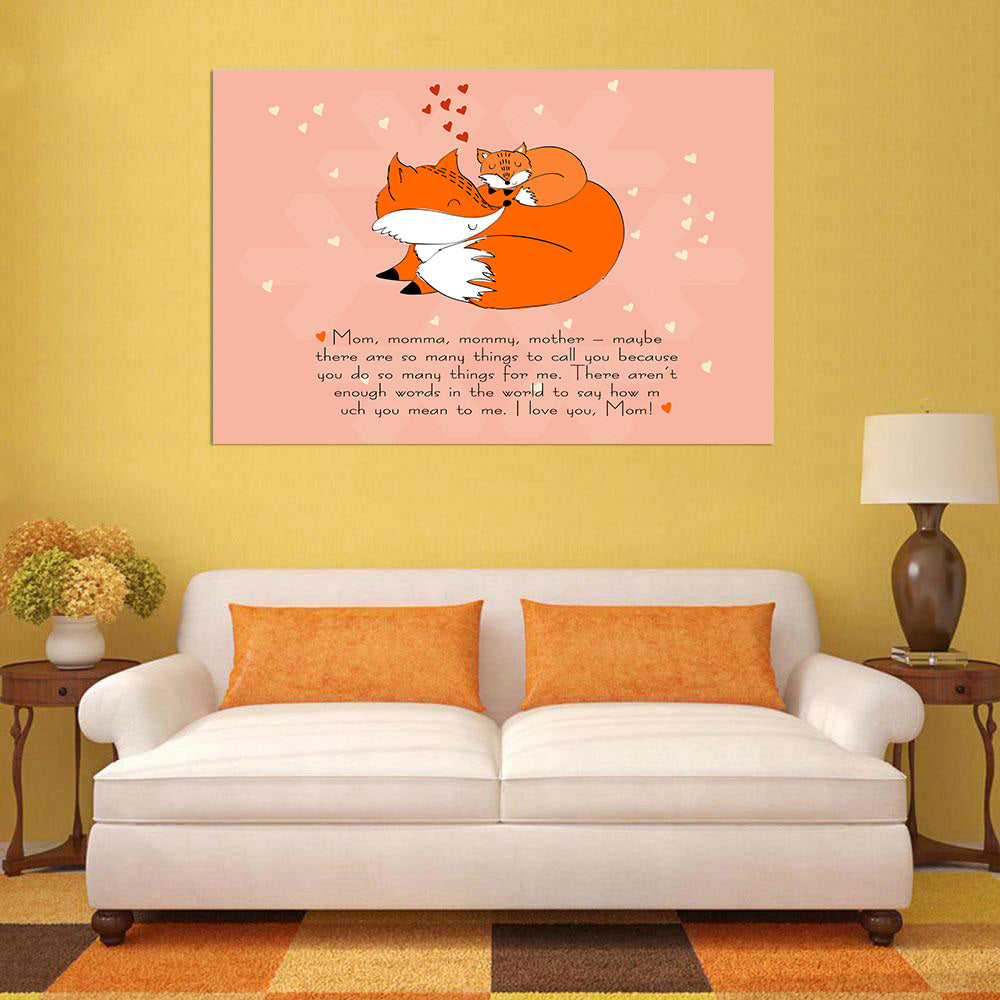 Mother's Day Blessings Fox - 1 Piece Canvas Wall Art