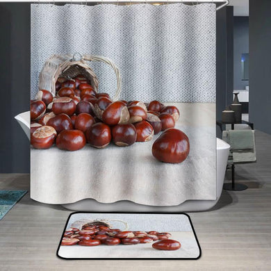 Horse chestnuts on the table Shower Curtain
