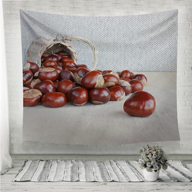 Horse chestnuts on the table Wall Tapestry