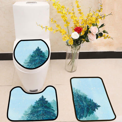 Spruce Christmas tree blue winter sky 3 Piece Toilet Cover Set