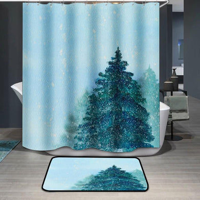Spruce Christmas tree blue winter sky Shower Curtain