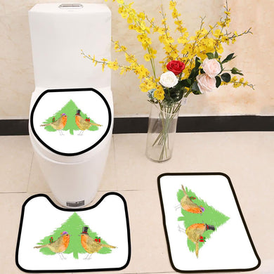Robins and Christmas tree 3 Piece Toilet Cover Set
