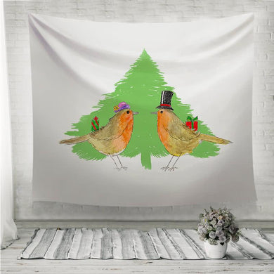 Robins and Christmas tree Wall Tapestry