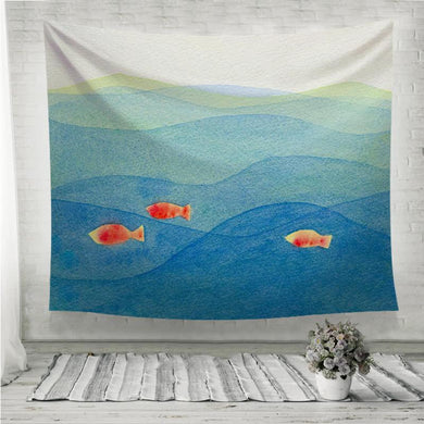 Three colorful fish swimming in a blue ocean Wall Tapestry