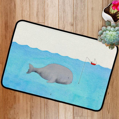 Whale and a fisherman Bath Mat