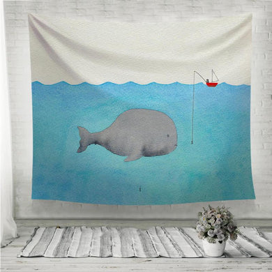 Whale and a fisherman Wall Tapestry