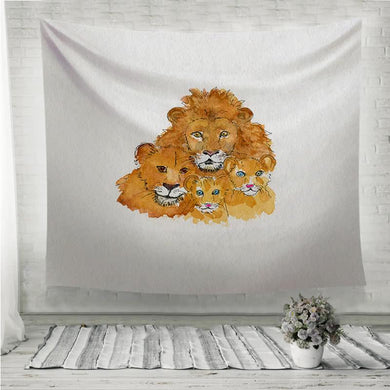 Lions Family love and togetherness Wall Tapestry