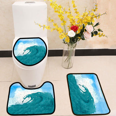 Watercolor of splattering ocean wave blue sky 3 Piece Toilet Cover Set