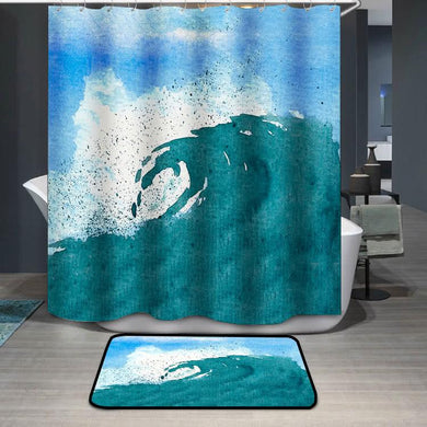 Watercolor of splattering ocean wave blue sky Shower Curtain